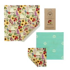 "Set de tissus en cire d'abeille ""Medium Kitchen Pack"", floral (SML)"